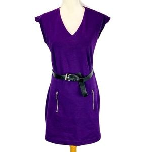 Micheal Kors Sheath Dress Purple Belted Zip Pocket